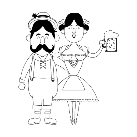 Bavarian people celebrating with beers oktoberfest cartoon black and white vector illustration graphic design