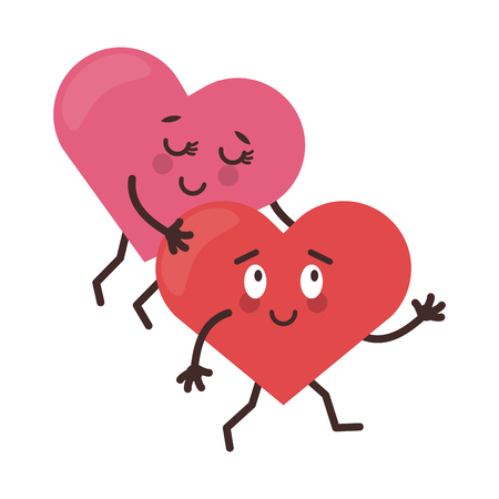cute heart with arms open cartoon