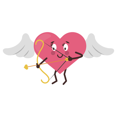cute heart with wings and harp cartoon