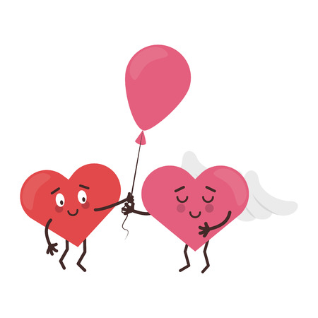 cute hearts in love with balloon cartoons