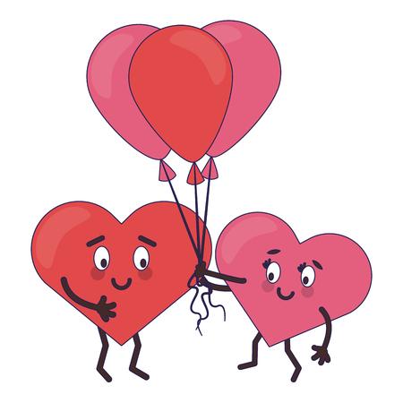 Lindos corazones enamorados con globos de dibujos animados ilustración vectorial diseño gráfico