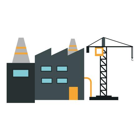 Diseño gráfico del ejemplo del vector de la zona industrial de la fábrica y de la grúa