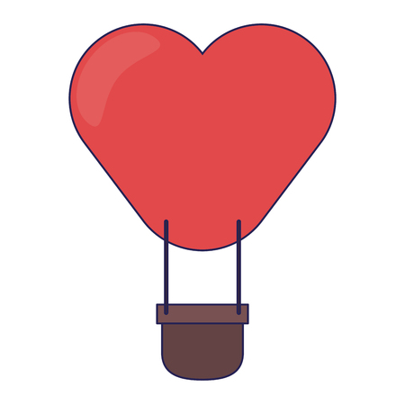 hot air balloon heart shaped vector illustration graphic design