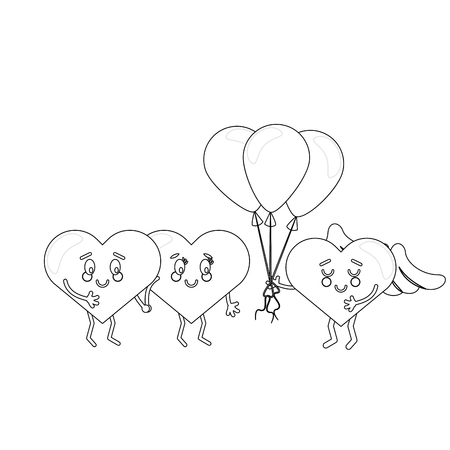 cute hearts in love with balloons cartoons in black and white vector illustration graphic design