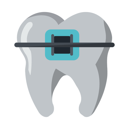 Tooth with brace symbol vector illustration graphic design Stock Illustratie