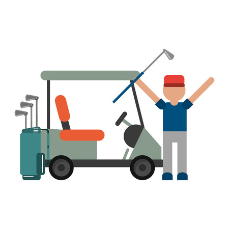 Golf player celebrating with cart and clubs bag vector illustration graphic design