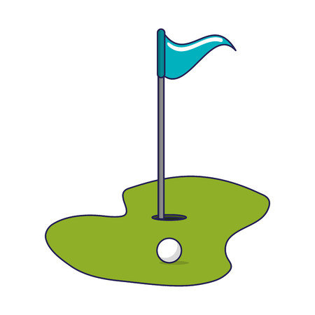 Golf flag and hole with ball vector illustration graphic design vector illustration graphic design