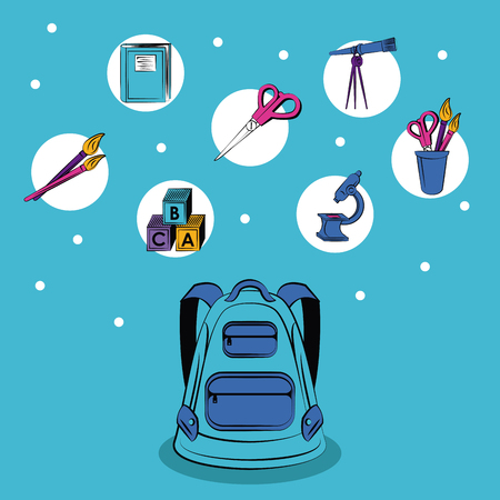 School supplies round icons concept vector illustration graphic design Illustration
