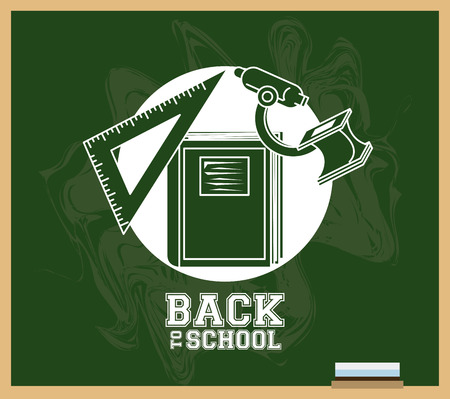 Back to school supplies and elements in blackboard poster vector illustration graphic design  イラスト・ベクター素材