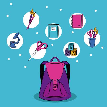 School supplies round icons concept vector illustration graphic design