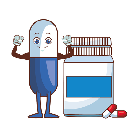 pills botlle cartoon vector illustration graphic design