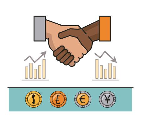 finance and trading stock market cartoon vector illustration graphic design Vetores
