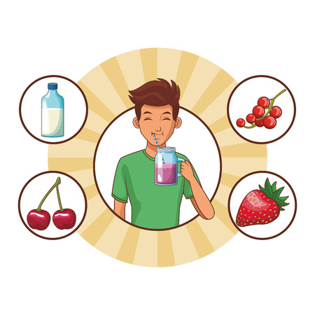 man healthy food fruit vector illustration graphic design