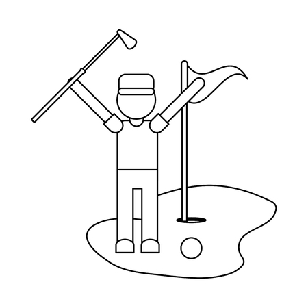 Golf player celebrating with club and flag with hole vector illustration graphic design 矢量图像