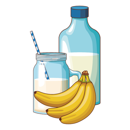 milk and banana vector illustration graphic design