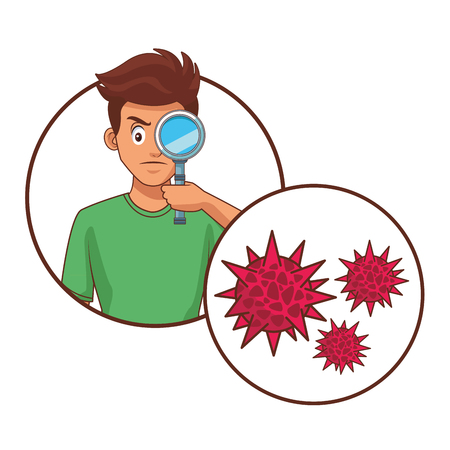 man with magnifying glass germs vector illustration graphic design