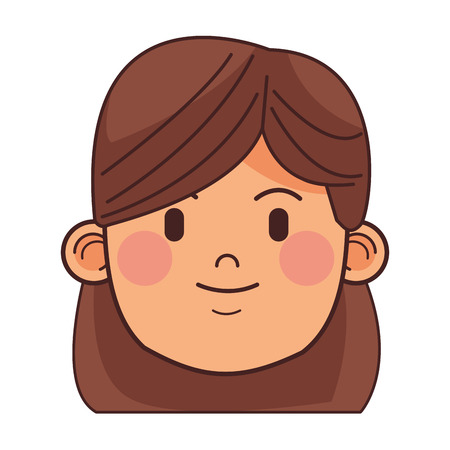 woman brunette avatar casual outfit only face vector illustration graphic design
