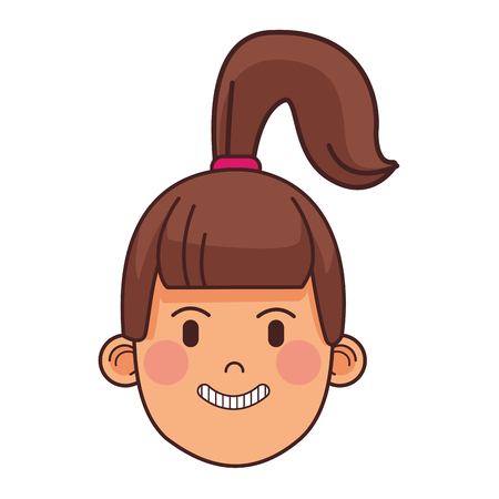 woman with ponytail only face vector illustration graphic design 向量圖像