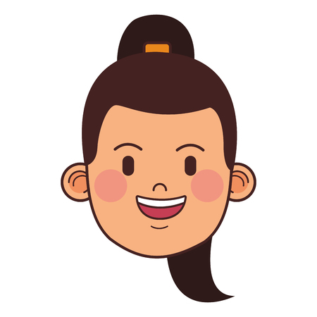 woman with ponytail sport outfit only face vector illustration graphic design 向量圖像