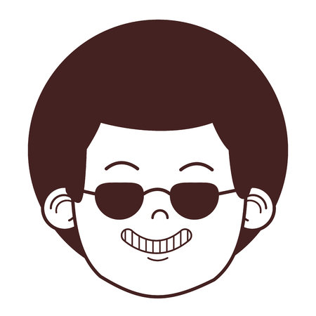 young man face with sunglasses cartoon vector illustration graphic design 向量圖像