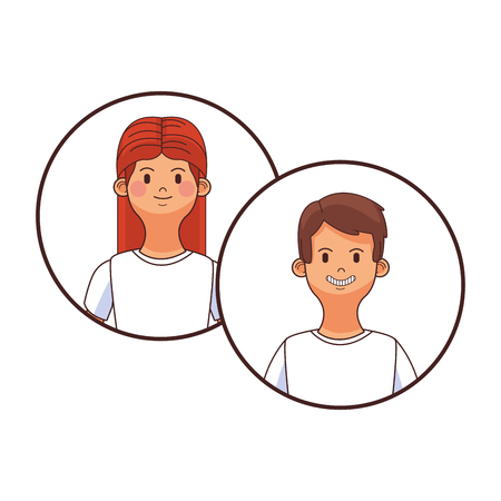 young people couple round icon cartoon vector illustration graphic design