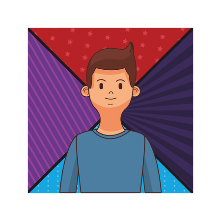 young man with puple and red background cartoon vector illustration graphic design