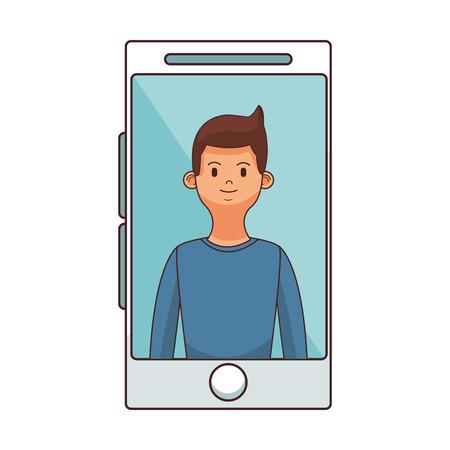 young man upperbody in smartphone screen cartoon vector illustration graphic design