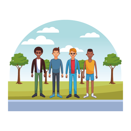 young men body at park cartoon vector illustration graphic design