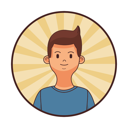 young man upperbody round icon cartoon vector illustration graphic design