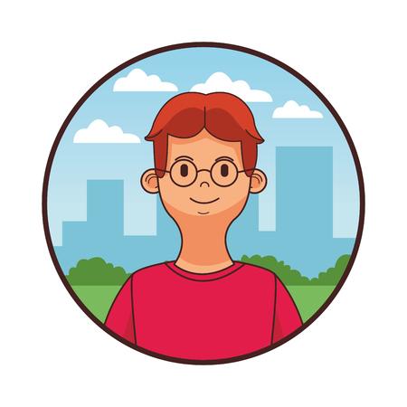 young man upperbody in front city landscape round icon cartoon vector illustration graphic design Ilustração
