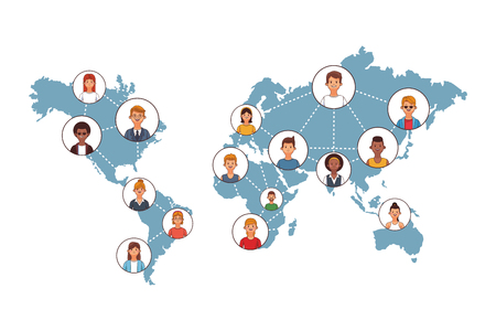 business coworkers executives connecting around the world cartoon vector illustration graphic design