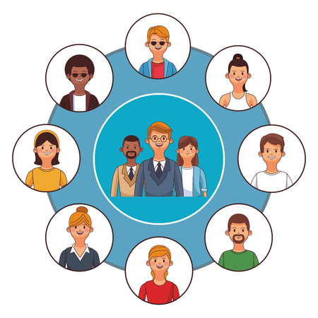 business coworkers executives connecting round icon cartoon vector illustration graphic design Illustration