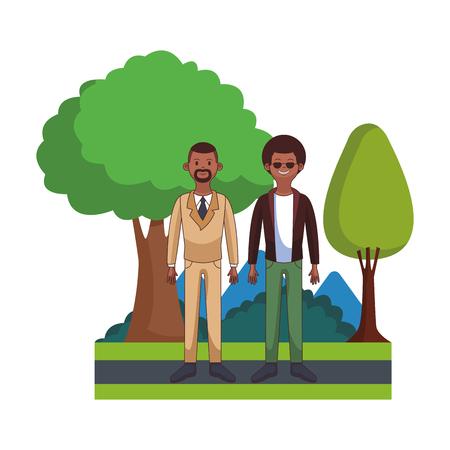 young men body at park cartoon vector illustration graphic design