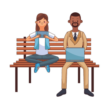 young people couple using devices over bench park cartoon vector illustration graphic design