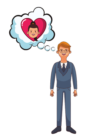 young man with speech bubble thinking girlfriend cartoon vector illustration graphic design 向量圖像