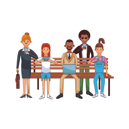 group of friends using technology device over park bench cartoon vector illustration graphic design