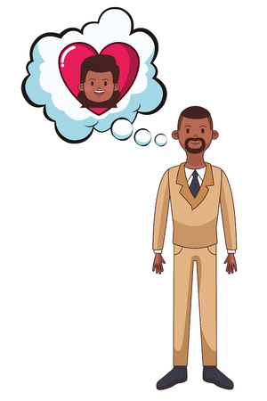 young man with speech bubble thinking girlfriend cartoon vector illustration graphic design
