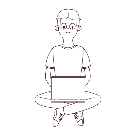 young man cartoon using technology device vector illustration graphic design Ilustração