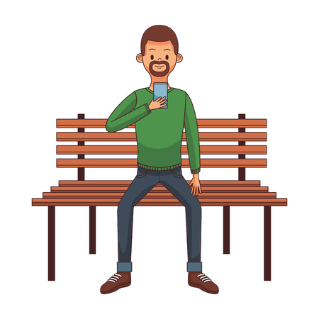 young man cartoon using technology device over park bench vector illustration graphic design
