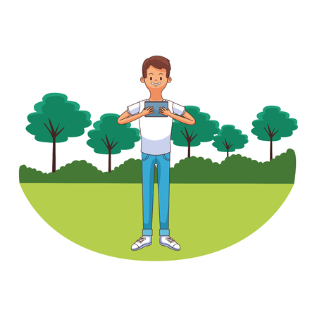 young man using technology device at city park cartoon vector illustration graphic design