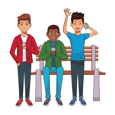 young men using smartphone cartoon vector illustration graphic design