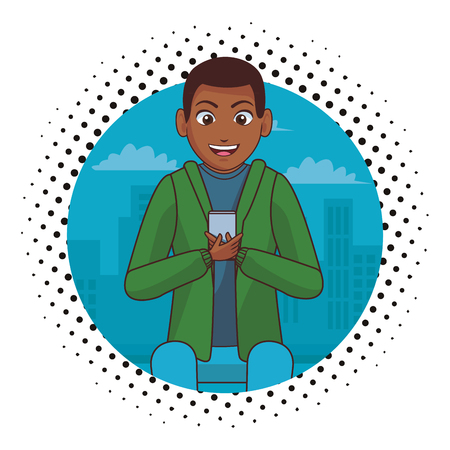 young man chatting by smartphone cartoon vector illustration graphic design