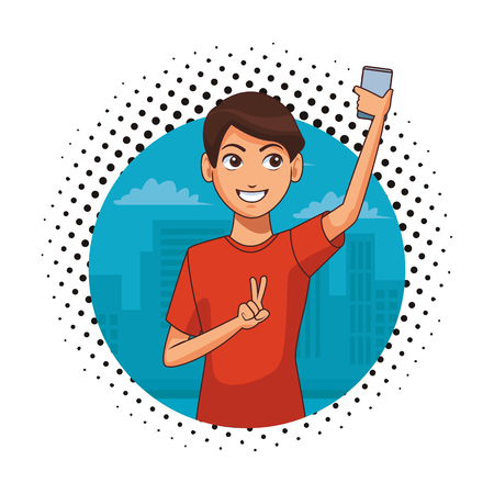 young man taking selfie by smartphone with peace finger gesture cartoon vector illustration graphic design