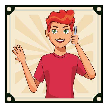 young man calling by smartphone cartoon vector illustration graphic design Ilustração