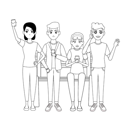 group of friends using smartphone cartoon vector illustration graphic design