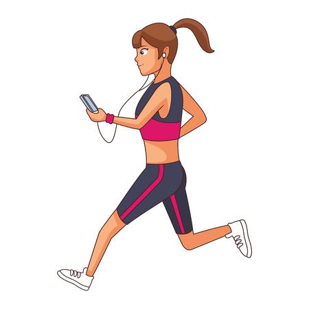 Mujer joven escuchando música por teléfono inteligente mientras practica deporte diseño gráfico de ilustración de vector de dibujos animados