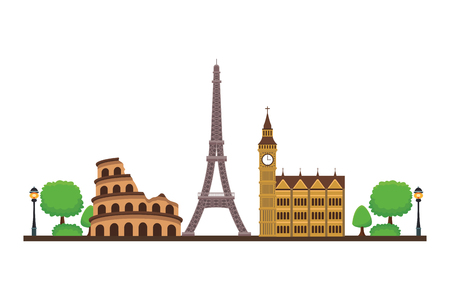 world monuments icon with trees in white background circus eiffel bigben vector illustration graphic design Illustration