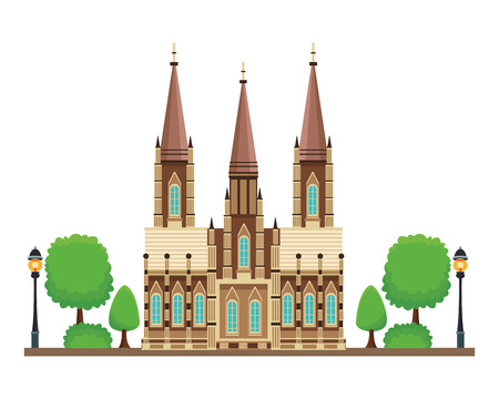 gothic cathedral icon with tree in white background vector illustration graphic design