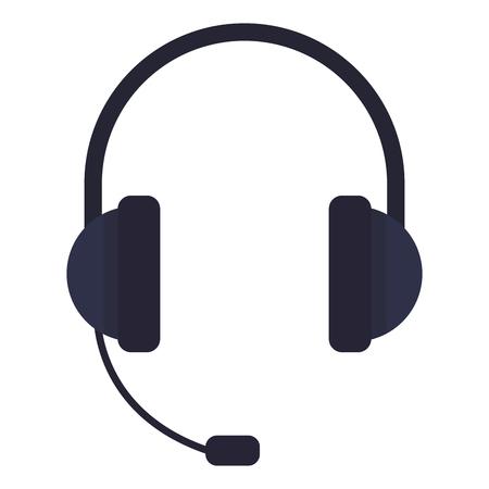 casque avec icône microphone coloré sur fond blanc