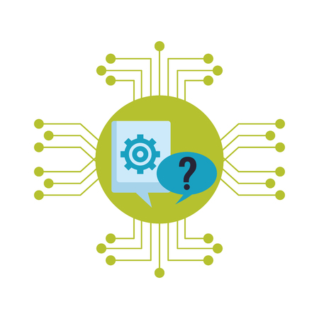 speech bubble icon with gear and question mark electronic circuit in white background